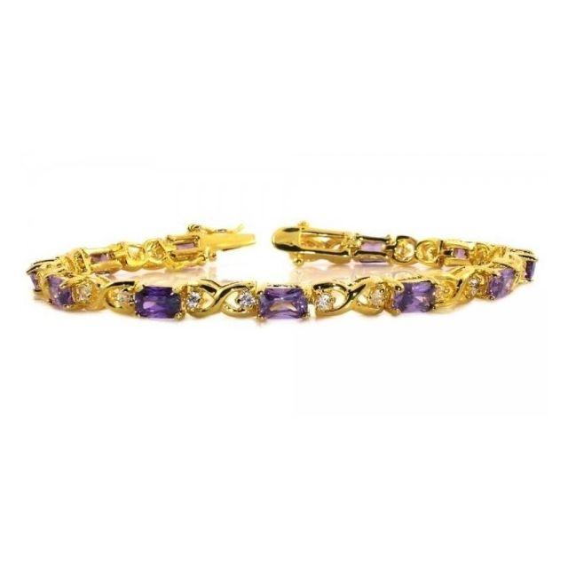 84ed5fe98cf0b BestOfBijoux® - April - Tennis Bracelet - Bracelet Femme - Argent 925 -  Plaqué Or - Oxyde de Zirconium 18cm/7inch