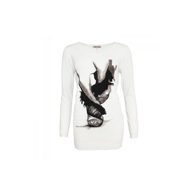 eddbc26a46d34 Zonedachat - Pull imprimé motif abstrait à sequins blanc - Tu - Blanc - pas  cher Achat   Vente Pulls femme - RueDuCommerce