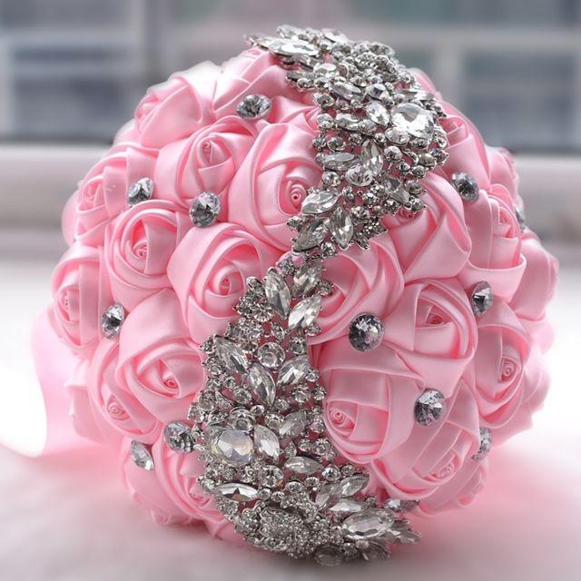 classcic une performance supérieure en arrivant Mariage tenant des fleurs bouquet rose de mariée accessoires demoiselle  d'honneur strass partie décoration de fournitures