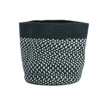 Nattiot - Panier de rangement motif effet tressé 100% coton noir et blanc D.35cm Allen