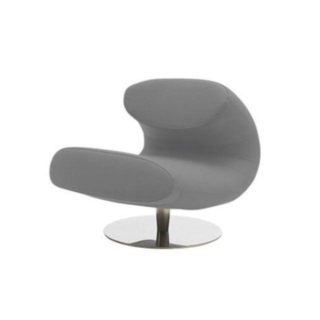 Inside 75 Fauteuil design Rio en vinyl gris avec piétement pivotant en acier inoxydable Softline