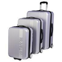 CARREFOUR - Lot de 3 valises rigides Traveller - ABS - 2 roues - Argent