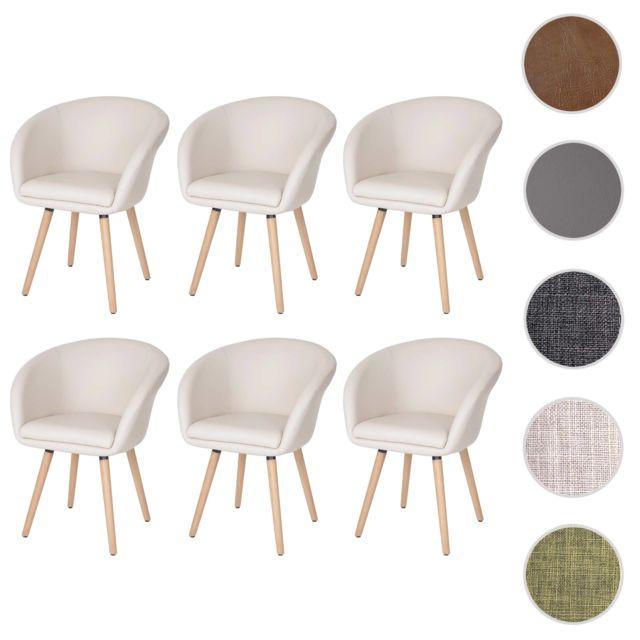 Mendler 6x chaise de salle à manger Malmö T633, fauteuil, design rétro des années 50 ~ similicuir, crème