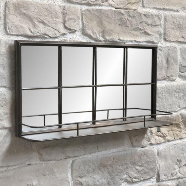 L'ORIGINALE Deco Miroir Industriel Miroir Tablette Miroir Étagère Industriel 80 cm x 40 cm x 15,50 cm
