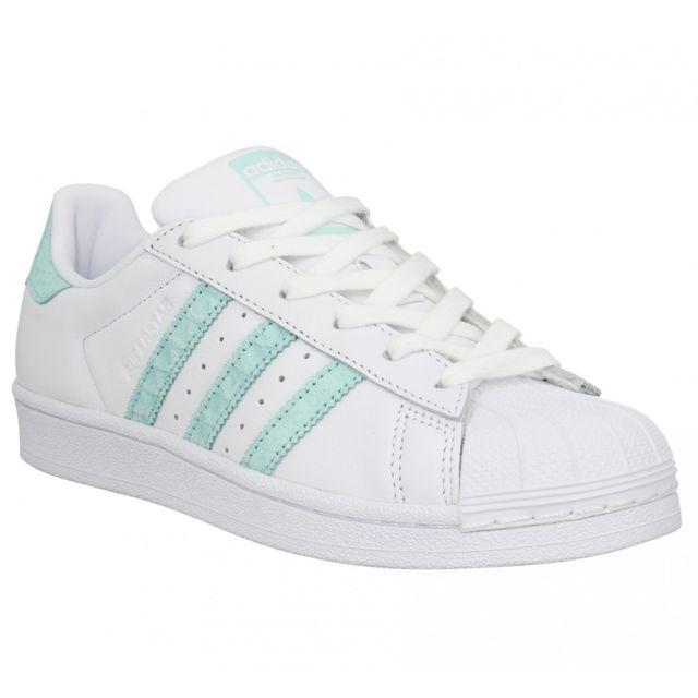 Adidas Superstar cuir Femme 40 Blc Vert Blanc pas cher