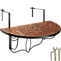 Table de Jardin, Table de Balcon Pliante Suspendue en Mosaïque 76 cm x 65  cm x 57,5 cm Marron Noir