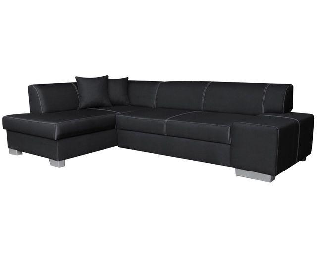 COMFORIUM - Canapé d angle convertible 4 places en tissu noir avec ... 5b62de6d4de7