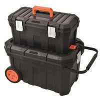 Tood - Malle de chantier avec boite a outils 58x37x36/ 50x26x22 cm