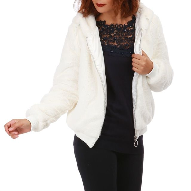 Lamodeuse - Veste blanche à capuche en fausse fourrure - pas cher ... 306a3fa82b5