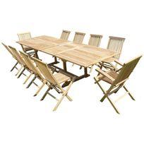 Teck'LINE - Ensemble de jardin en teck premium Kirang 8 chaises 2 fauteuils Jenae