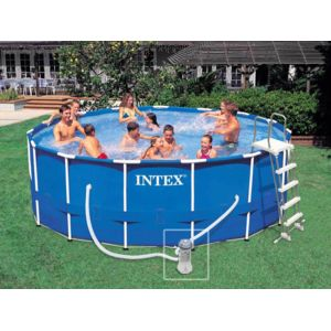 Intex piscine tubulaire metal frame ronde 4 57 x 1 22 m for Piscinas intex carrefour