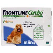 Frontline - Combo - Pipettes Antiparasitaire pour Chien de 10 à 20Kg - 4x1,34ml