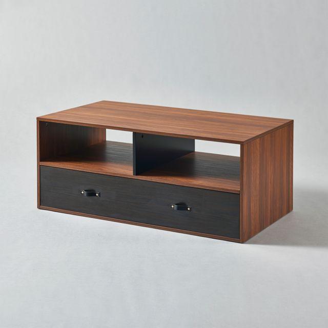 VERSANORA Table basse Henry avec poignée cuir PU, finition noyer noir VNF-00086