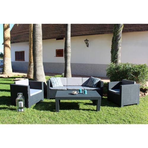 Soldes CONCEPT USINE - Tropea: Salon de jardin 5 places effet résine ...