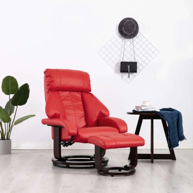 Vidaxl Fauteuil Tv avec Repose-pied Rouge Similicuir Inclinable Salon Maison