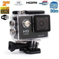 Yonis - Caméra sport étanche WiFi 2 pouces Full Hd 1080p time lapse 170° Noir