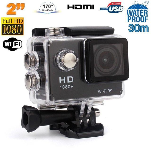 Yonis Caméra sport étanche WiFi 2 pouces Full Hd 1080p time lapse 170° Noir