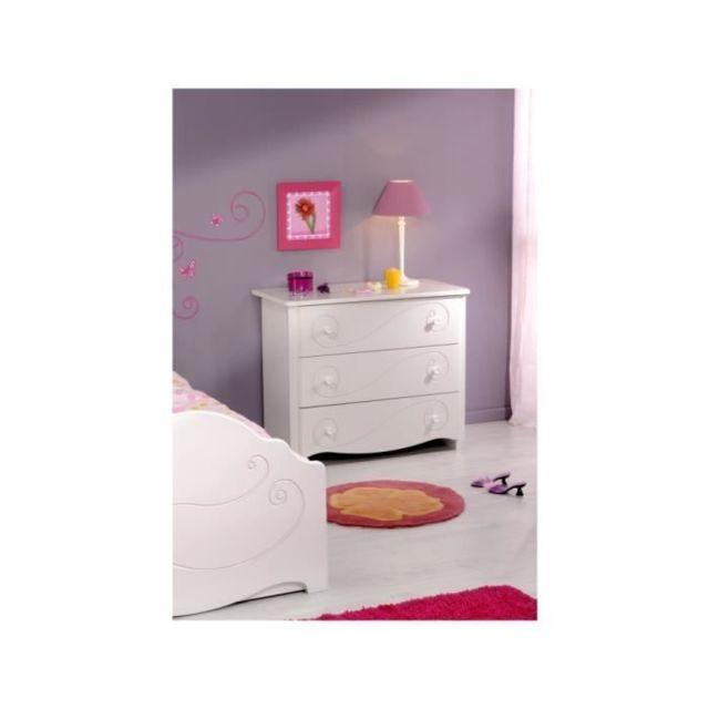 COMMODE DE CHAMBRE CHARME Commode 3 tiroirs - Décor blanc laqué - L 98 x P 82 x H 49 cm
