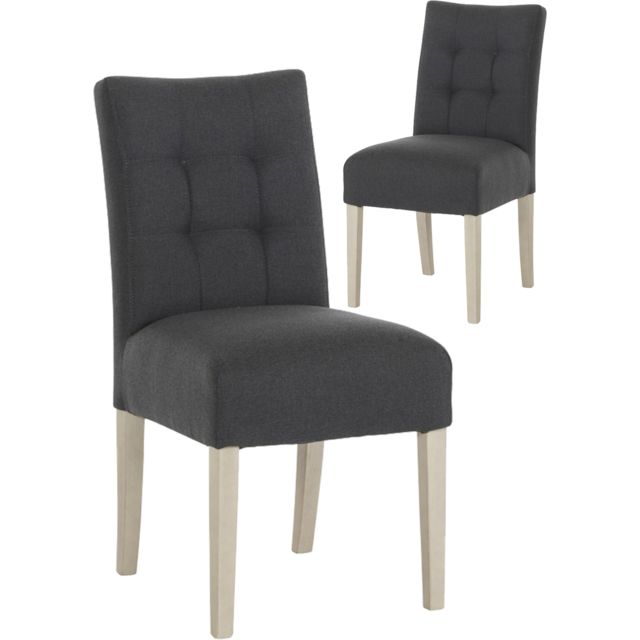 de chaises 2 contemporain gris Lot COMFORIUM en capitonné FJTKl1c53u