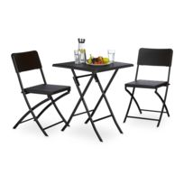 Autre - Ensemble table et chaises de jardin en métal terrasse balcon camping noir 2213015