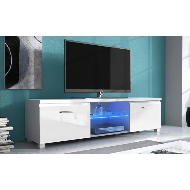 comfort home innovation meuble bas tv led salon s jour blanc mate et blanc laqu pas. Black Bedroom Furniture Sets. Home Design Ideas