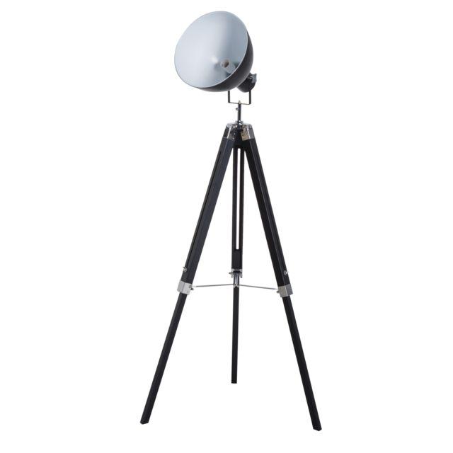 HOMCOM - Lampadaire trépied style industriel hauteur réglable abat-jour ajustable E27 40W max. 65 x 65 x 108-152 cm bois métal noir et blanc 38WT 65cm x 152cm x 65cm
