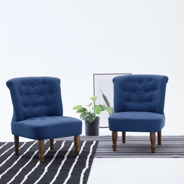 Esthetique Fauteuils et chaises categorie Oslo Chaises françaises 2 pcs Bleu Tissu