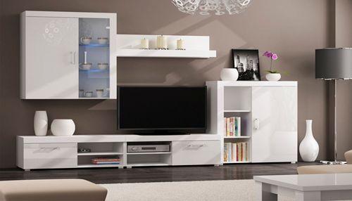 Comfort Home Innovation - Meuble de télévision, Meuble de Salon moderne avec Leds, Blanc Laqué et Blanc Mate. Dimensions : 290x2