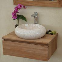 wildwater meuble suspendu 1 tiroir en teck ecograde 60 cm khal