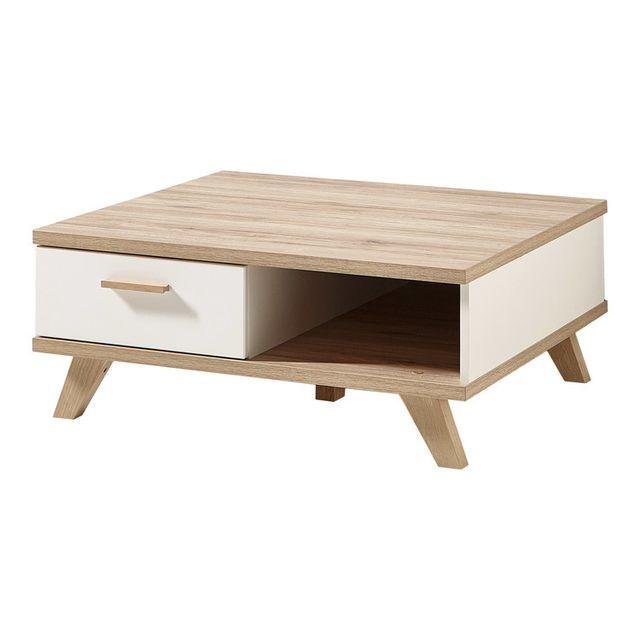Germania Table basse carrée 1 tiroir 1 niche en bois et piètement chêne L80cm Oslo