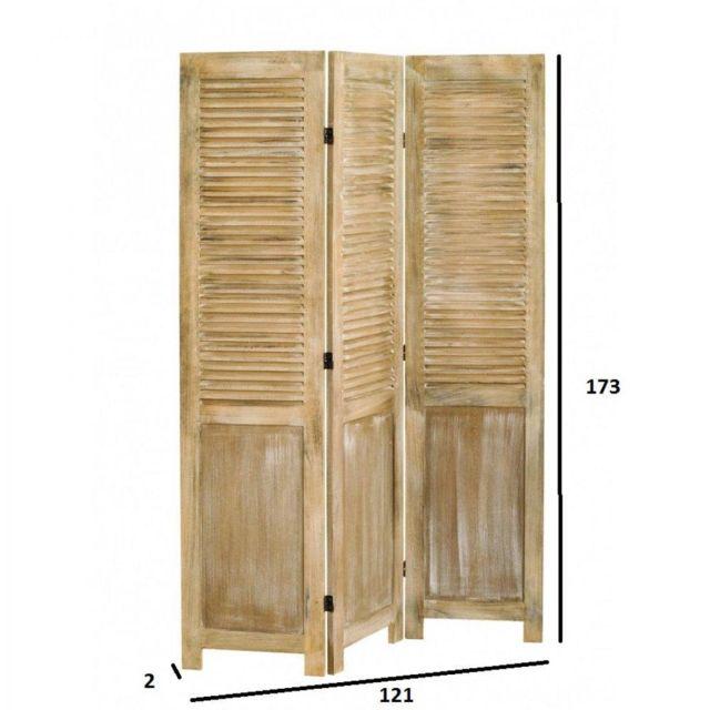Inside 75 - Paravent 3 volets Sarah en bois de paulownia style campagne