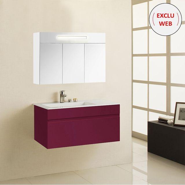 Creazur - Meuble simple vasque 90 cm Emma - Rouge Laque brillante ...