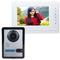 Auto-hightech - Caméra Vidéo Hd 7 Pouces avec Système d'Interphone et Sonnette pour Porte Téléphone – couleur Blanche
