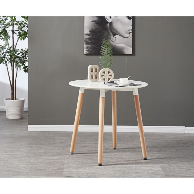 Home Design International - Ensemble Table Blanche Ronde + 4 ...