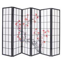 Pegane - Paravent bois noir avec fleurs de cerisier 6 pans L264 x H176 x P2 cm