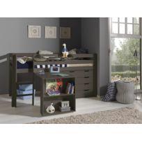 Modern Life - Lit compact gris avec bureau et commode