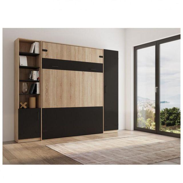 Inside 75 Composition lit escamotable style industriel Tekno bi-ton chêne noir mat 160 200 cm rangement L : 275 cm