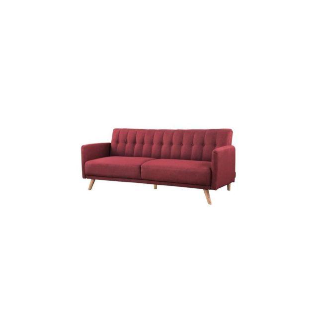 Sans Marque Anders Canape 3 Places Scandinave Convertible - Tissu Rouge - L 207 X P 94 X H 86 Cm