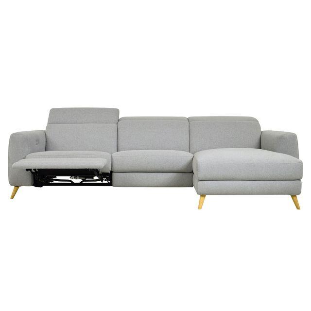 Momentime Canapé d'angle scandinave relax électrique Kekka - Gris - Droit