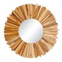 Ma Maison Mes Tendances - Miroir rond en teck Dwong - L 101 x l 4 x H 101