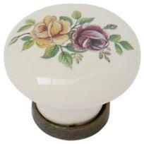 Giusti - Bouton Ou Poignee Pour Porte Ou Tiroir De Meuble Zamak Porcelaine - Coloris Ivoir Et Fleur - Ø mm:31 - Haut. mm:26