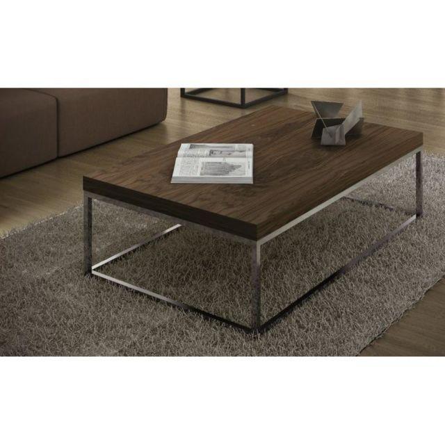 Inside 75 TemaHome Prairie table basse 120cm rectangulaire en noyer piétement métal chromé