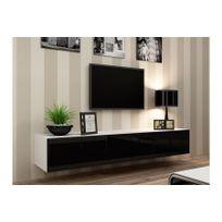 CHLOE DESIGN - Meuble tv design suspendu Vito 180cm - blanc et noir