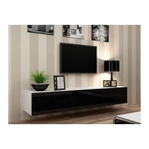 chloe design meuble tv design suspendu vito 180cm blanc et noir pas cher achat vente. Black Bedroom Furniture Sets. Home Design Ideas