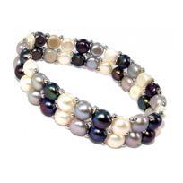Fantzi - Bracelet élastique en argent rhodié 925 et perles véritables