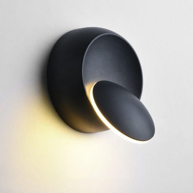 Applique Murale Led à Led Lampe De Chevet Réglable Avec Rotation à 360 Degrés Blanc Noir Créative Noire Moderne Et Ronde Température Couleur