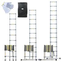 LINXOR - Échelle télescopique en aluminium + Housse et gants - 3.80m