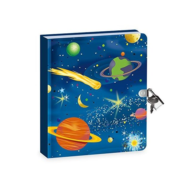 Peaceable Kingdom Deep Space Glow in The Dark 625 Lock and Key Lined Page Diary for Kids