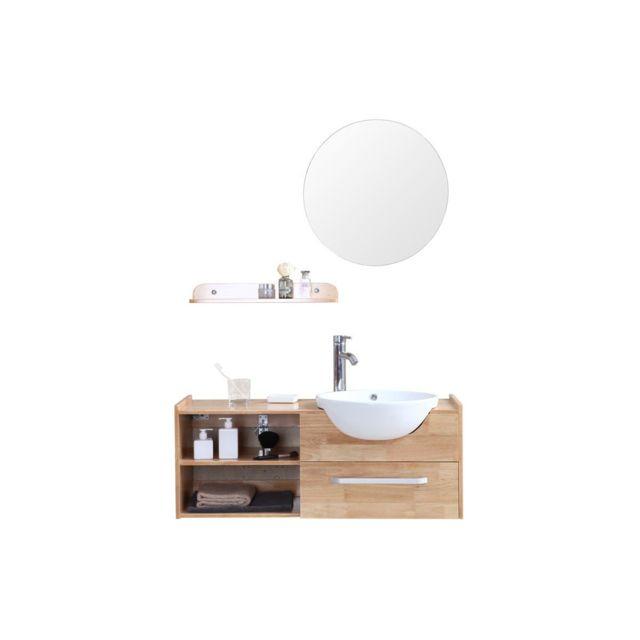 miliboo meuble de salle de bain vasque meuble sous vasque tag re et miroir eytan ch ne. Black Bedroom Furniture Sets. Home Design Ideas