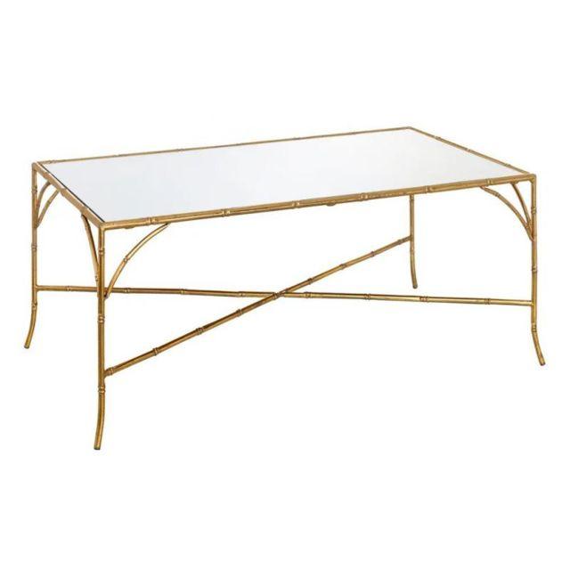 Tousmesmeubles Table basse Verre Miroir/Métal Or - Goldy